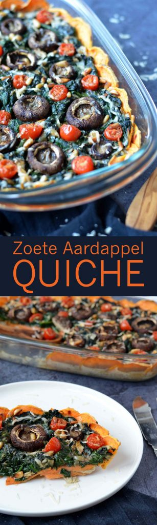Een heerlijke glutenvrije zoete aardappel quiche met spinazie! Dat wordt smullen...!