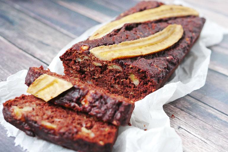 Gezonde chocoladecake met banaan