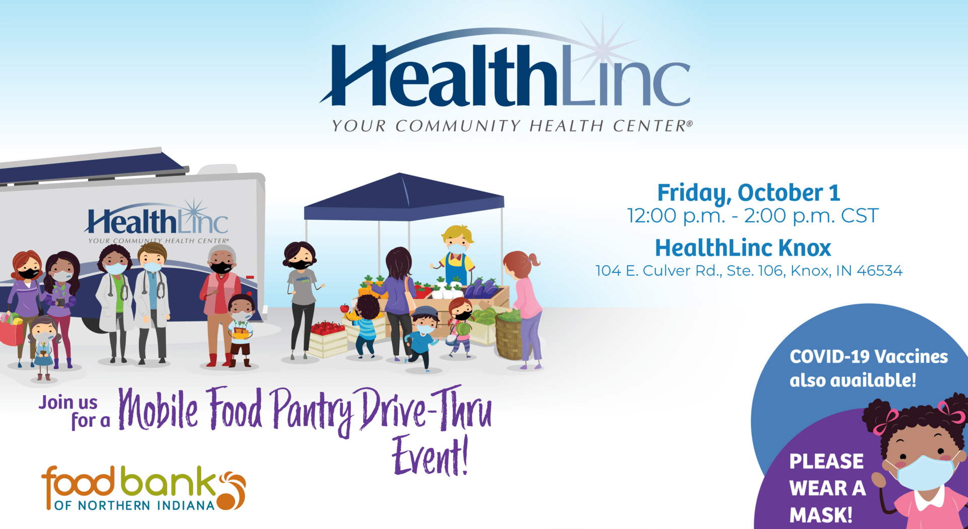 Flyer for the HealthLinc Knox drive-thru mobile food pantry, hosted in part by Food Bank of Northern Indiana.