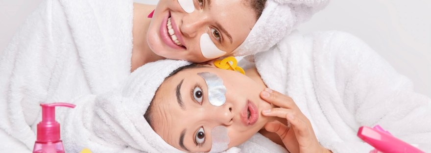 Two girls with skincare products
