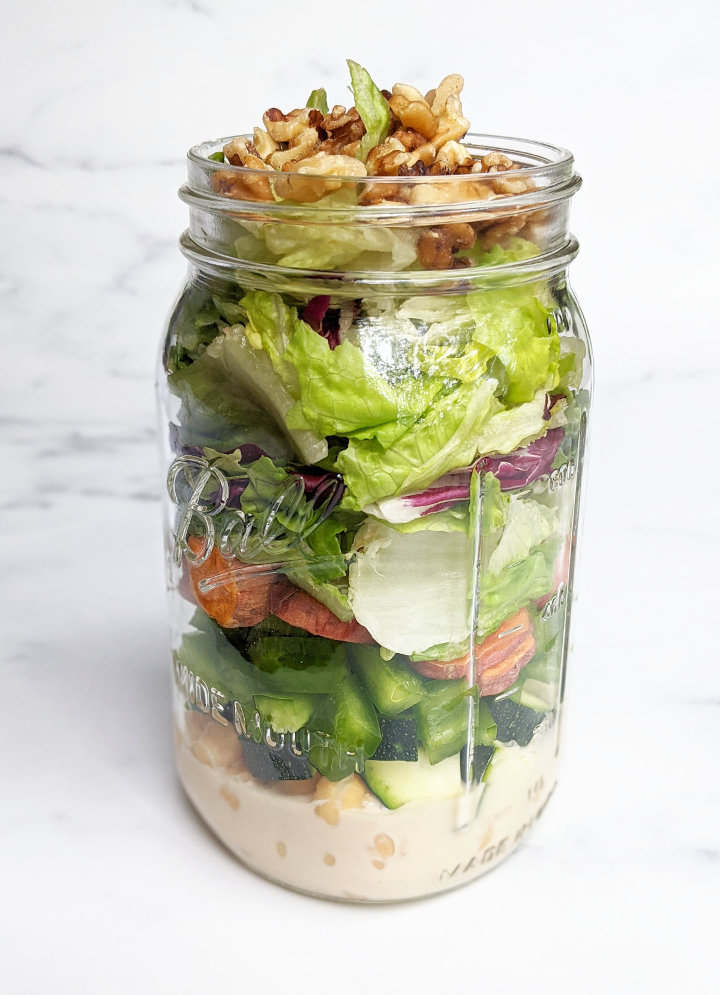 Sweet Potato Chickpea Mason Jar Salad Maple Tahini Dressing