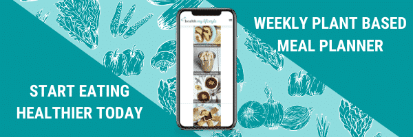 "Image of Meal Planner on a mobile phone. Text says ""Start eating healthier today, weekly plant based meal planner"""