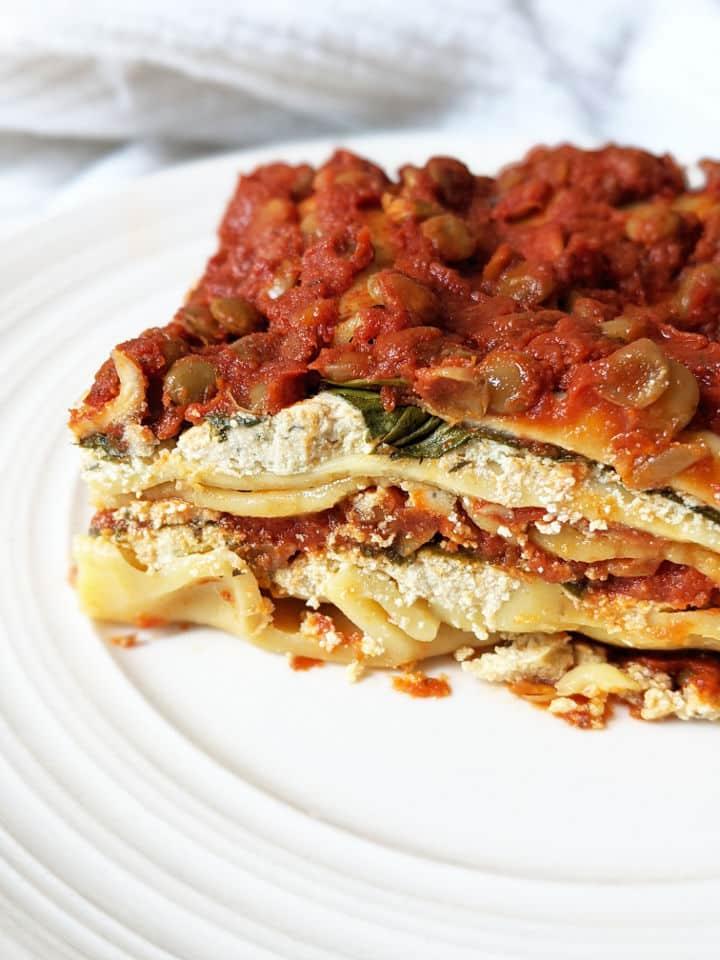 A serving of vegan lasagna on a plate