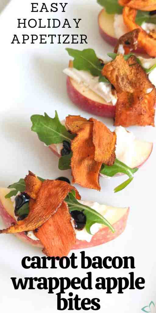 This holiday party appetizer with apples, cream cheese, balsamic glaze, and arugula wrapped with carrot bacon is the perfect vegan hors d'oeuvres to serve at any event. It's full of flavor, easy and can be made in less than 30 minutes. Easy vegan appetizer | vegan carrot bacon | vegan party appetizers | plant based appetizer