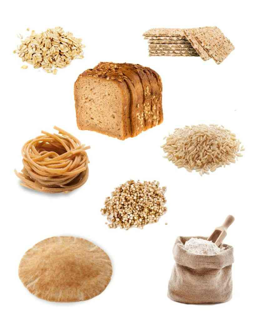 collage of a variety of whole grains