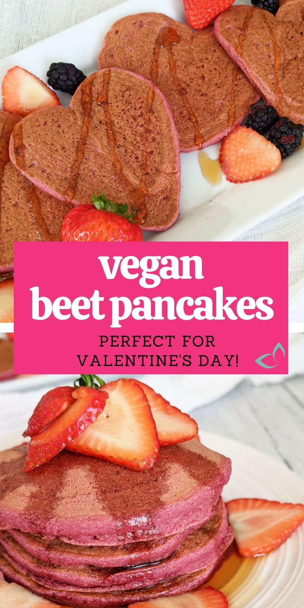 These beautiful beet pancakes are the perfect breakfast treat on Valentine's Day or any day you just want some fun color in your food. They're healthy, made with beets, whole wheat flour and are both oil free and dairy free but still incredibly scrumptious!