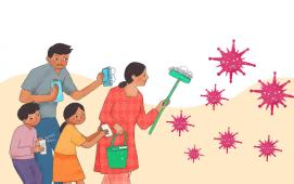 Cleaning and hygiene of home illustration, by Bandana Tulachan from Unicef Nepal