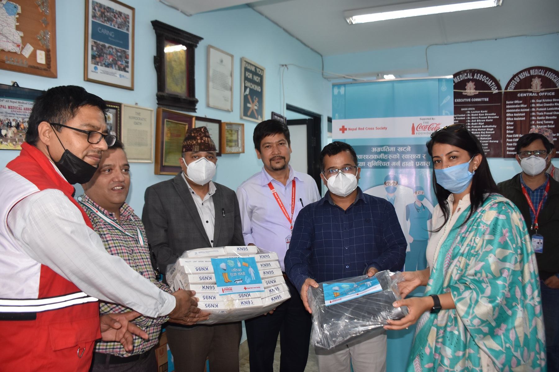 PPEs handover to Nepal Medical Association at Bagbazar