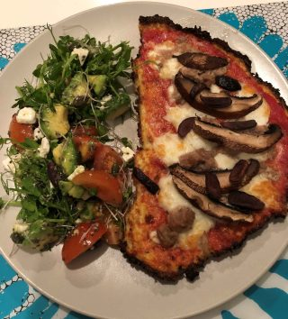 Cauliflower Pizza & Healthy Organic Salad