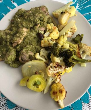 Mediterranean Chicken and Mushrooms in Pesto & Broccoli and Cauliflower in Turmeric Ghee