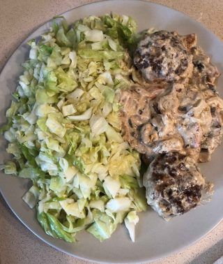 Low Carb Burgers Patties With Creamy Mushrooms Sauce & Fried Cabbage