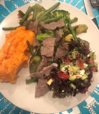 Minute Steak & Fry Vegetables and Sweet Potato Puree