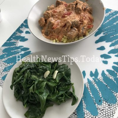 Sausages & Fried Spinach
