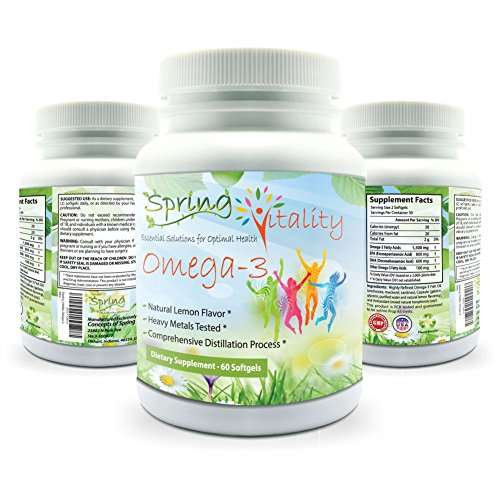 Spring Vitality Omega 3 Supplement for Kids, Teens, and Adults. Triple Strength with EPA(800mg) and DHA(600mg). 60 Burpless, Lemon Flavored Softgels