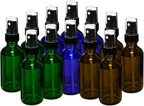 12, Reehut 15ml Empty Glass Spray Bottles with Black Fine Mist Sprayer for Misting Aromatherapy, Essential Oils, Cleaning, Room Sprays (4 Each - Green, Amber, Cobalt Blue)