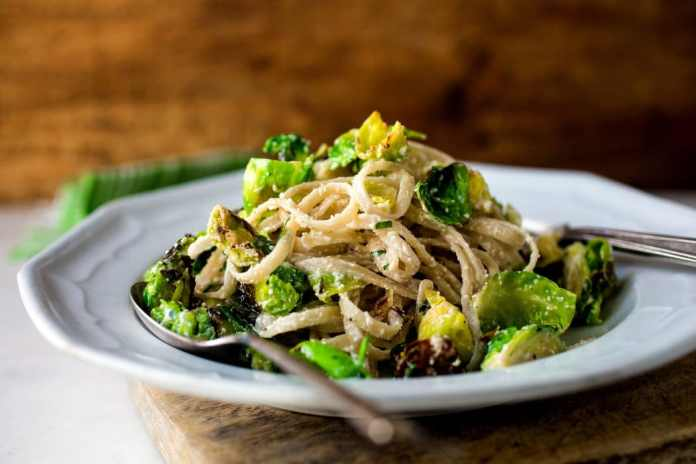 Fettucine with Brussels sprouts, Lemon, and Ricotta