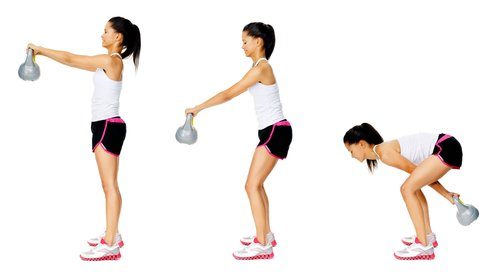 lady doing kettlebell swing
