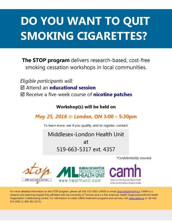 Quit Smoking Workshop Middlesex-london Health Unit