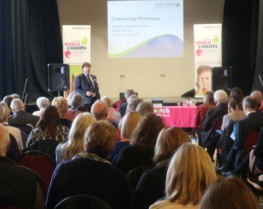 Stephen Blackman presenting at Healthwatch Northumberland AGM 2018
