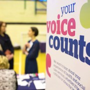 People talking at a Healthwatch event