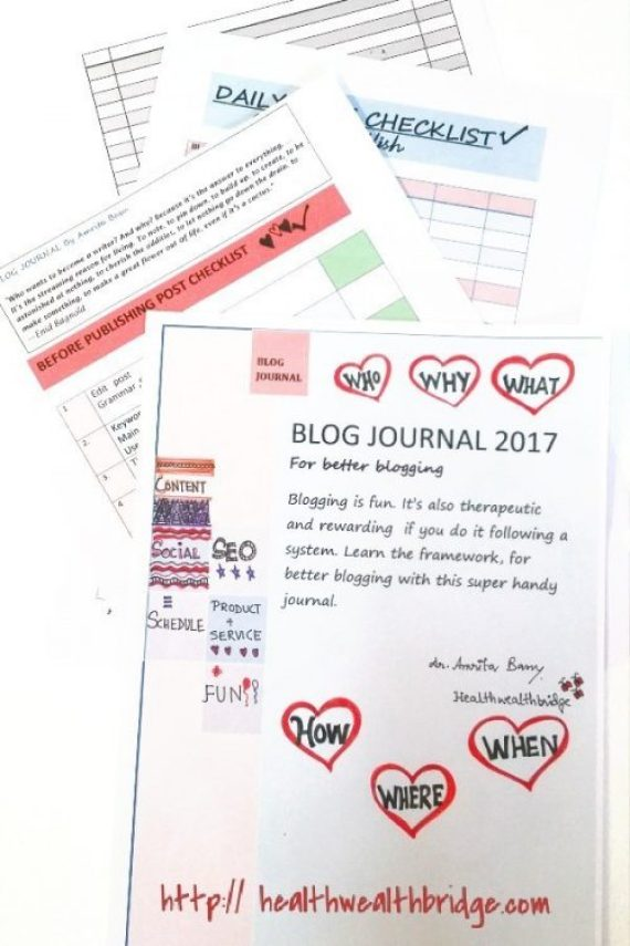 BLOGGING JOURNAL WITH PRE AND POST PUBLISHING CHECKLIST.Click on the image to download now