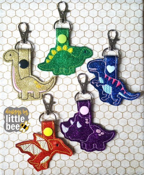 Dinosaur snap tabs :Designs by Little Bee