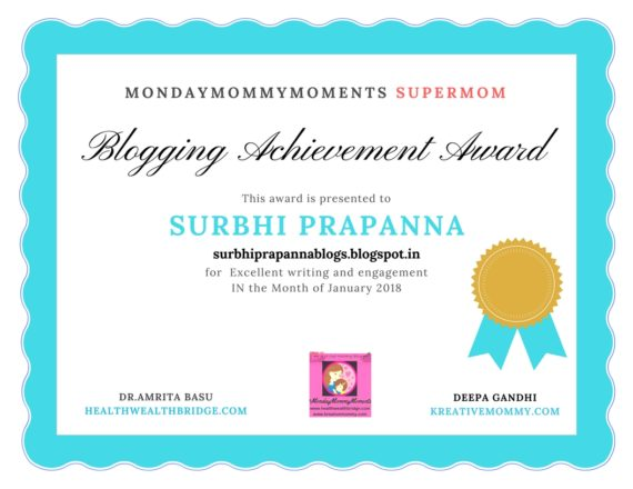 SURBHI MONDAY MOMMY MOMENTS SUPERMOM AWARD JAN