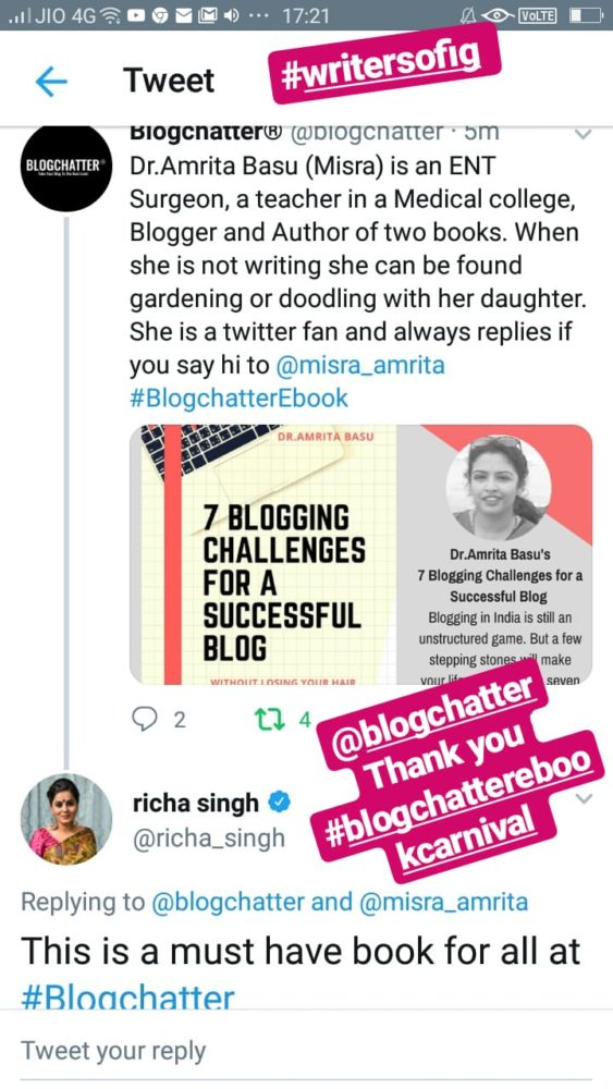 What Richa Sing Co-founder of Blogchatter said about this book