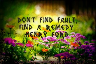 Don't find fault, find a remedy. Henry Ford