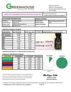 lab Cannabinoid Profile Certificate Of Analysis CBD Oil 1500mg HealthwoRx
