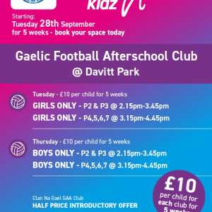 Healthy Kidz Gaelic Football Afterschools at Davitt Park