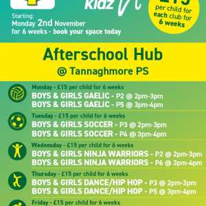 Healthy Kidz Afterschools at Tannaghmore PS – Now £10 for 4 weeks!