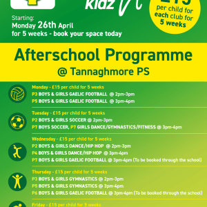 Healthy Kidz Afterschools at Tannaghmore PS April 2021