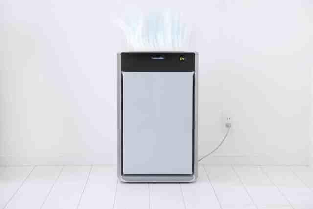 Air purifier in an all white room.