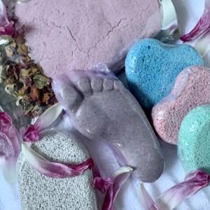 scrub, soak and stone for pretty feet