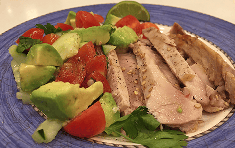 Tasty Seared Tuna with Avocado, Cucumber and Ginger salsa