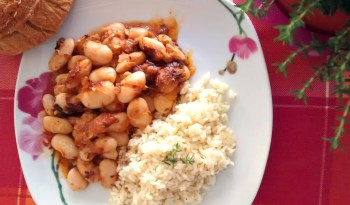 Gigantes plaki with thyme infused Pilaf