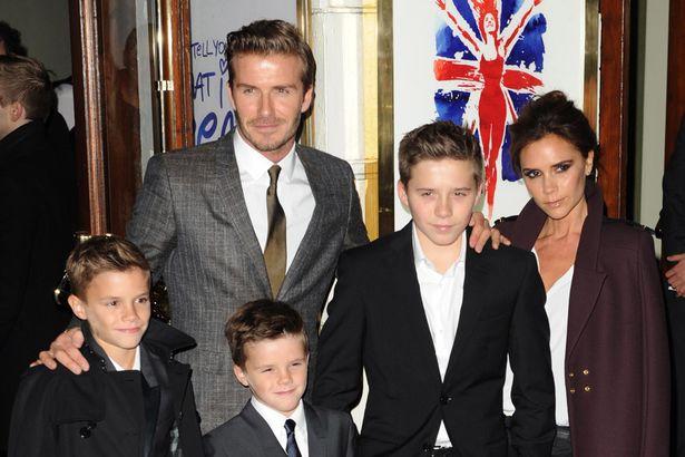 David Beckham Victoria Beckham with Family