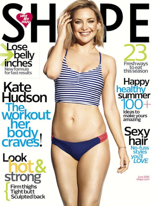 Kate Hudson on the cover of Shape magazine's June 2016 issue