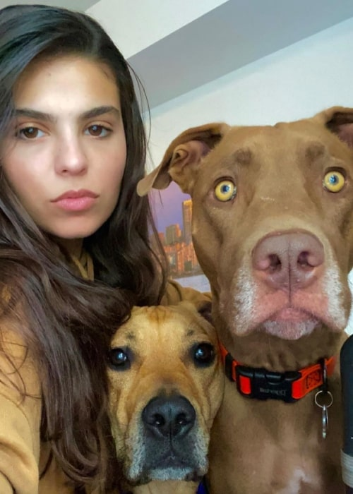Jy Prishkulnik as seen in a selfie with her dogs Mowgli Crusoe and Myrtle B'sakit in October 2020
