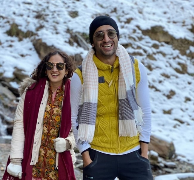 Ruchikaa Kapoor and Shaheer Sheikh in an Instagram post in December 2020
