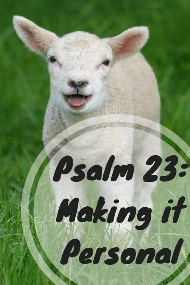 """Photo of a lamb in a green field with text overlay that says """"Psalm 23 - Making it Personal"""""""