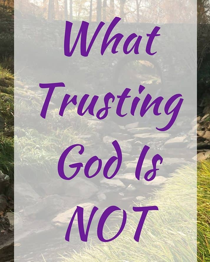 """Landscape forest scene with text overlay, """"What Trusting God Is NOT"""