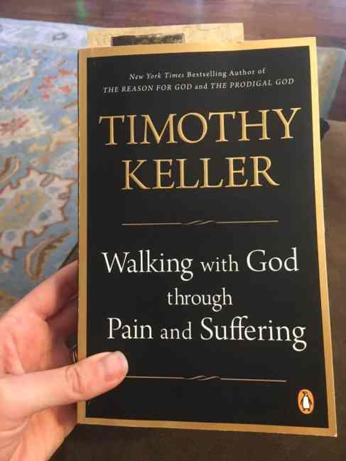 "Person holding a book on spiritual maturity entitled, ""Walking with God through Pain and Suffering"""