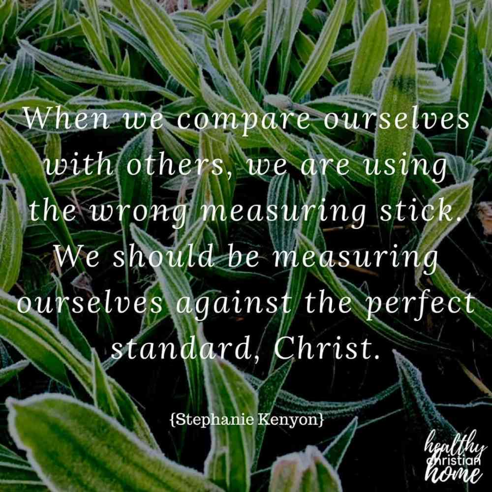 How to stop comparing yourself to others quote on a background photograph of green plants.