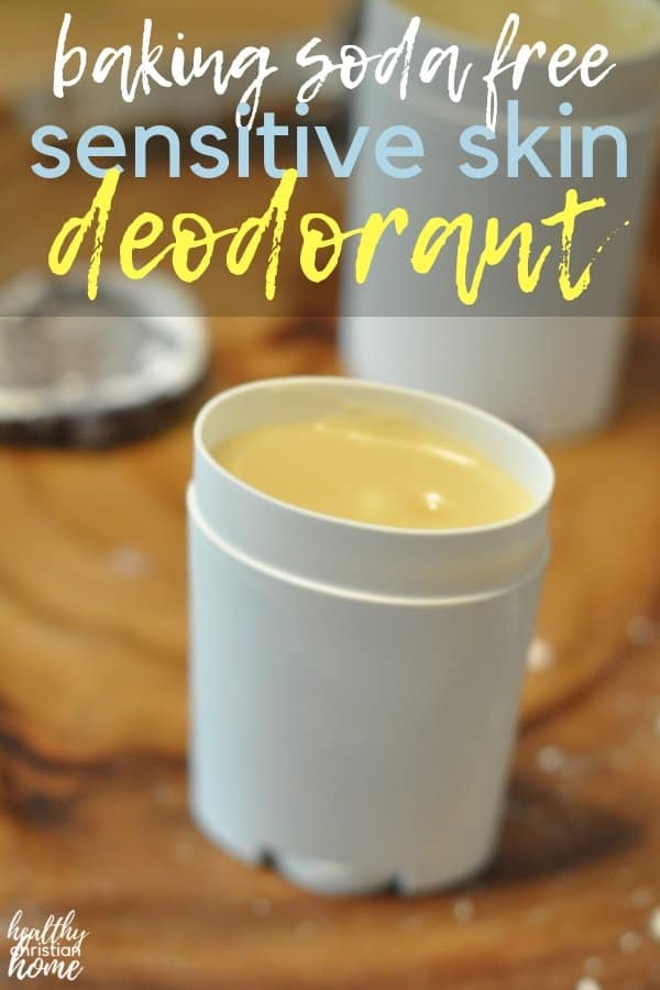 Whip up this DIY deodorant for sensitive skin with skin soothing shea butter and coconut oil, keeping odor & wetness away without irritating baking soda. #deodorant #diybeauty #homemadedeodorant #sheabutter