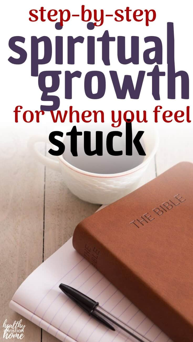 Find out how to grow spiritually when you're going through a spiritual dry spell - an exact method for getting closer to God when it's hard. These four concepts will help you gain spiritual growth and spiritual maturity, even in the midst of difficulty. Learn how to get closer to God, no matter where you are in life. #healthychristianhome #christian #spiritualgrowth #biblestudy #prayer #loveGod #Jesus