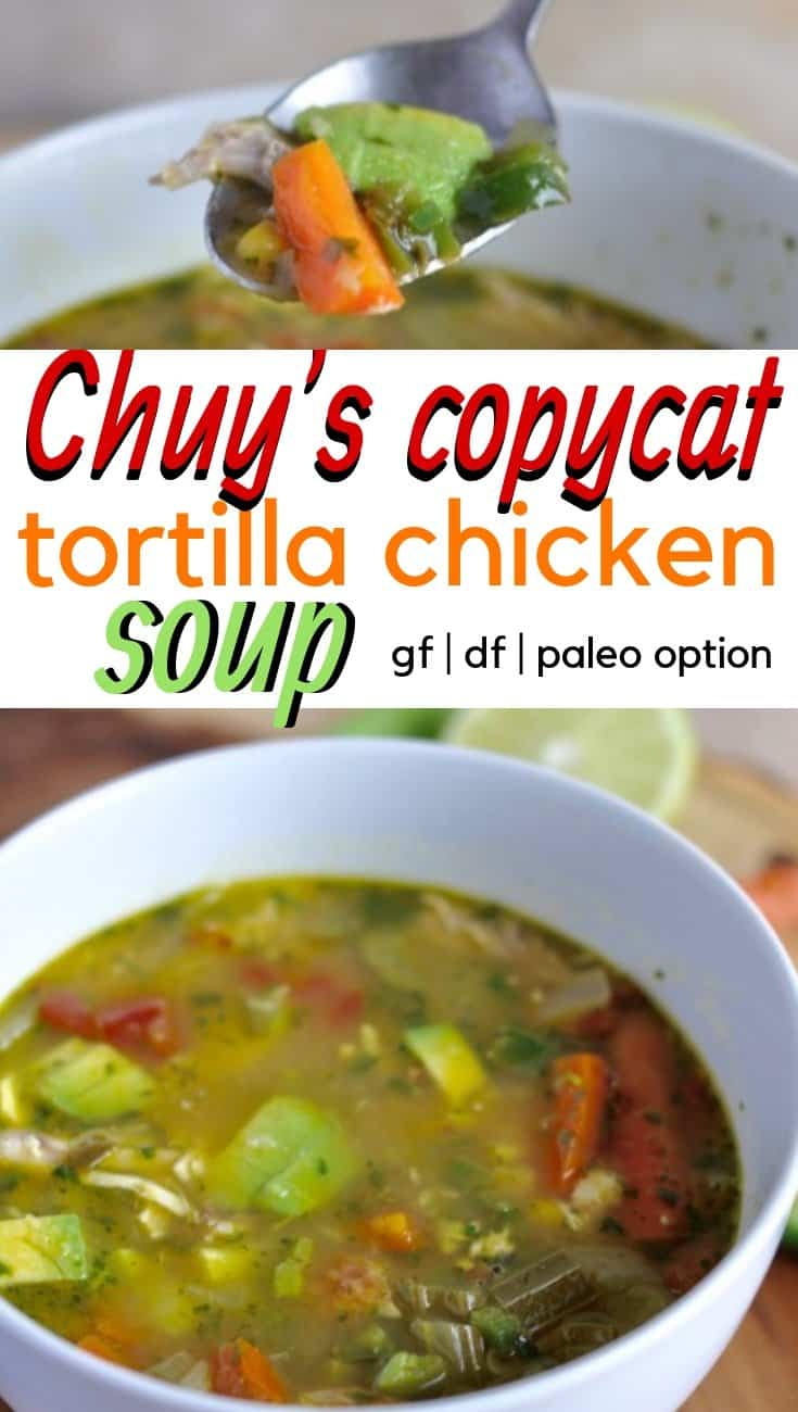 Chuy's tortilla chicken soup is the best! Filled with veggies, chicken, and plenty of spice, this soup tastes almost just like the Chuy's version. #soup #healthyrecipes #glutenfree #tortillasoup #texmex