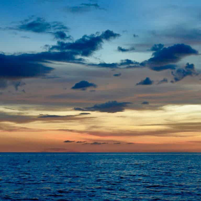 An ocean at sunset that represents the sea of Christian doubt that sometimes happens.