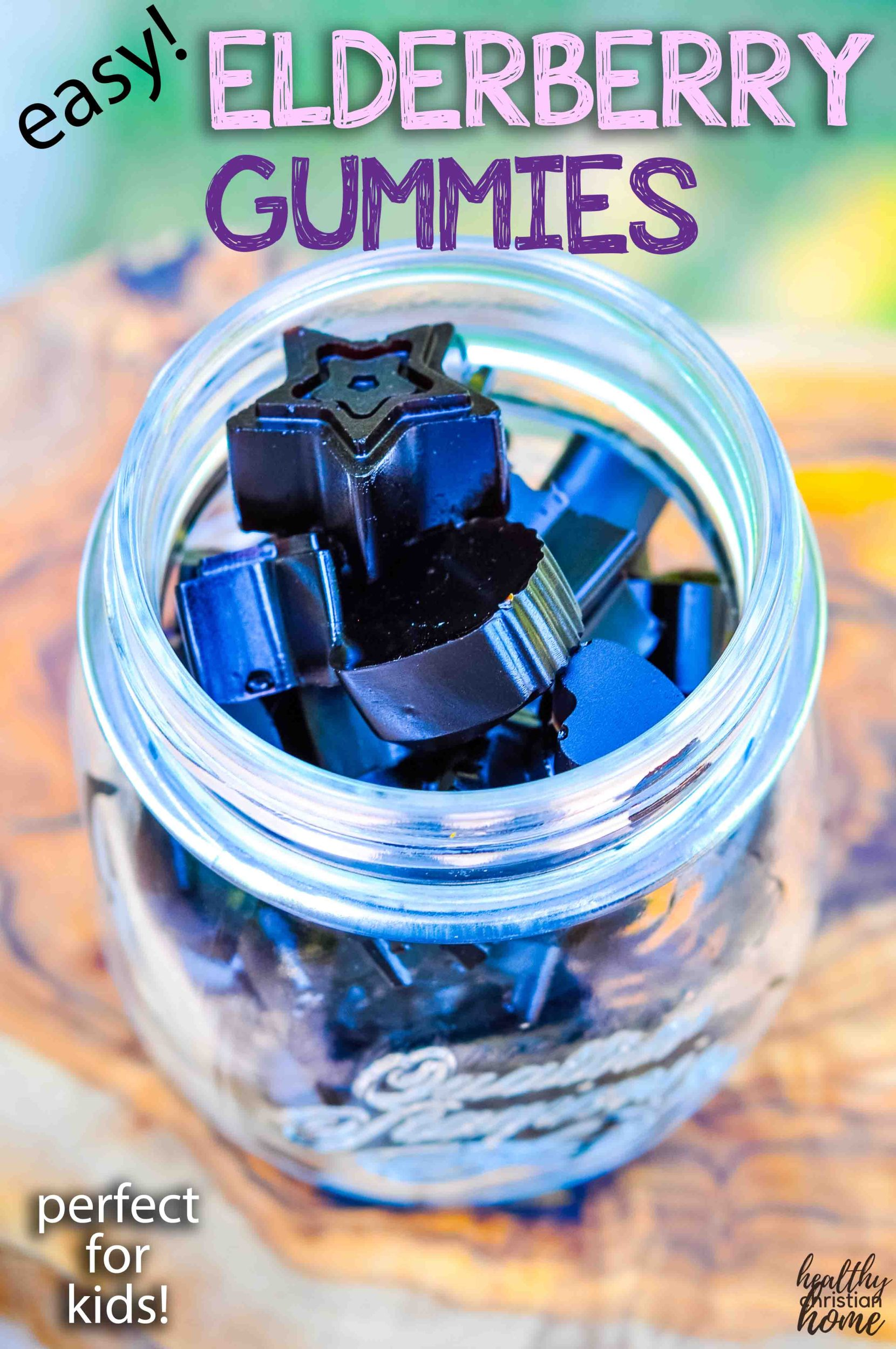 Elderberry gummies in a small jar with text overlay.